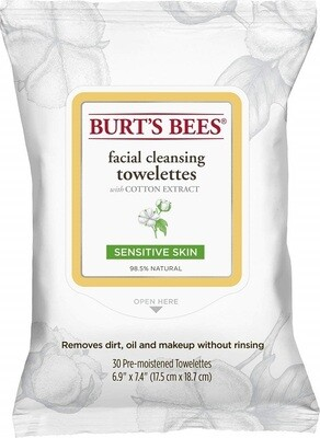 Burt's Bees Sensitive Facial Cleansing Towelettes, 30 Count