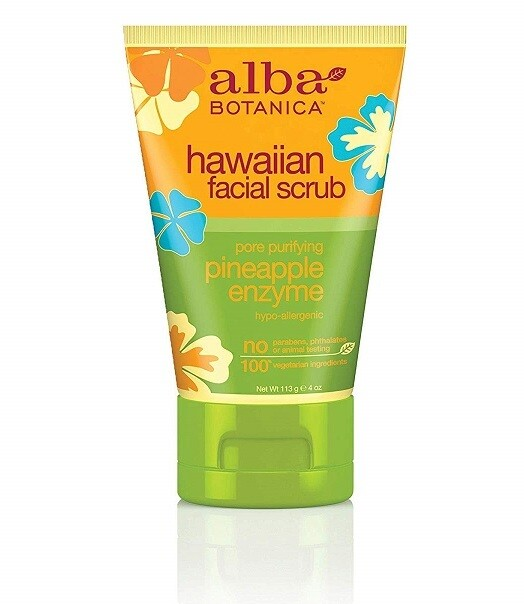 Alba Botanica Pore Purifying Pineapple Enzyme Hawaiian Facial Scrub, 4 Ounce