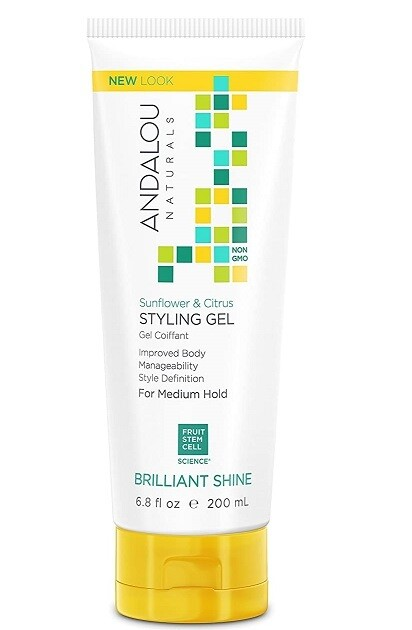 Andalou Naturals Sunflower and Citrus Brilliant Shine Hair Styling Gel, 6.8 fl Ounce