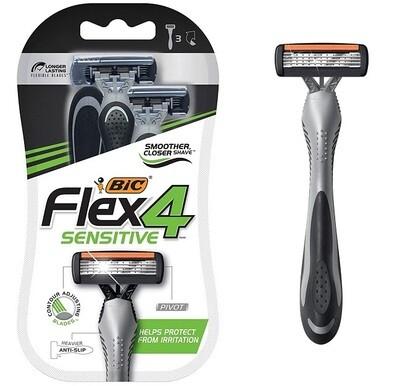 BIC Flex 4 Sensitive Men's 4-Blade Disposable Razor, 3 Razors/Pack