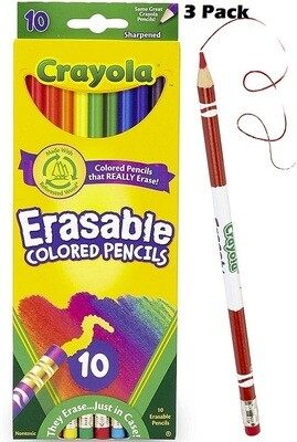 Crayola Erasable Colored Pencils, 10 Pencils/Pack, Pack of 3