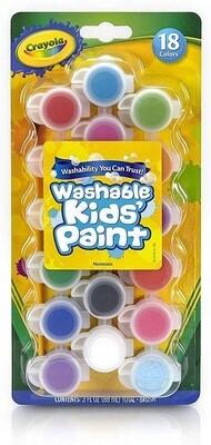 Crayola Washable Kids Paint Set & Paintbrush, Painting Supplies, 18 Colors Set/Pack