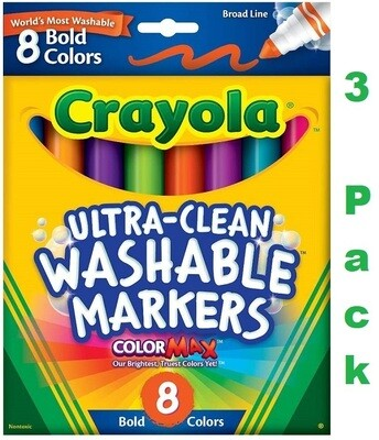 Crayola Washable Bold Broad Line Markers, 8 markers/Pack, Pack of 3