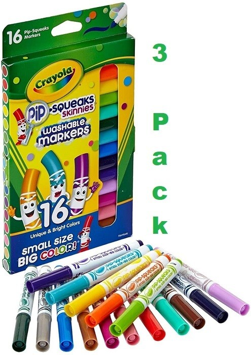Crayola Washable Pip-Squeaks Skinnies Markers 16 Markers/Pack, Pack of 3