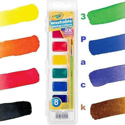 Crayola Washable Watercolors, Paint Set For Kids, 8 Colors/Pack, Pack of 3