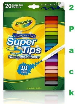 Crayola Washable Super Tip Markers, 20 Markers/Pack, Pack of 2