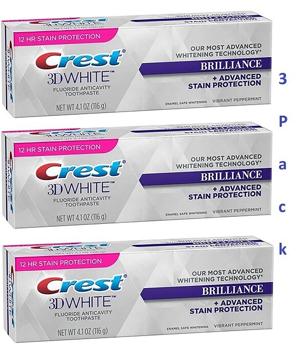 Crest 3D White Brilliance Toothpaste, Vibrant Peppermint 4.1 Ounce, Pack of 3