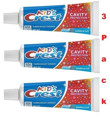 Crest Kid's Fluoride AntiCavity Toothpaste, Sparkle Fun, 4.6 Ounce, Pack of 3