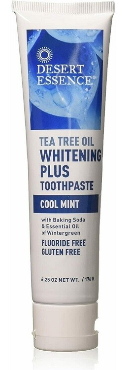 Desert Essence Natural Tea Tree Oil Whitening Plus Toothpaste, Cool Mint, 6.25 Ounce
