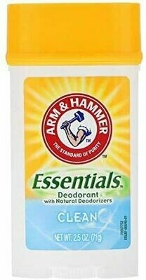 Arm & Hammer Essentials Solid Deodorant, Clean, Wide Stick, 2.5 Ounce