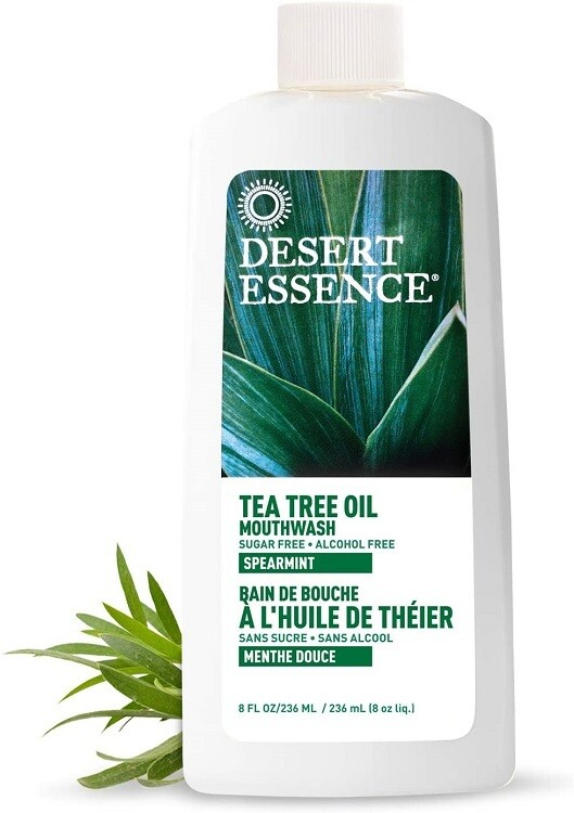 Desert Essence Tea Tree Oil Sugar Free Mouthwash, Spearmint, 8 fl Ounce