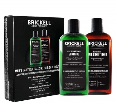 Brickell Men's Hair Care Routine, Shampoo and Conditioner Set, 1 Pack