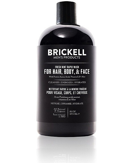 Brickell Men's Rapid Wash, 3 in 1 Body Wash Gel for Men, 16 Ounce