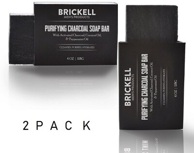 Brickell Men's Purifying Charcoal Soap Bar for Men, 4 Ounce, Pack of 2