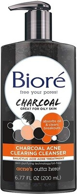 Biore Charcoal Acne Clearing Cleanser, 6.77 Ounce