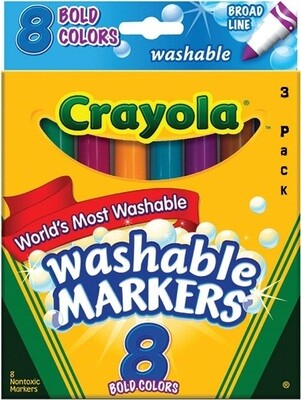 Crayola Bold Broad-Line Washable Markers, 8 Markers/Pack, Pack of 3