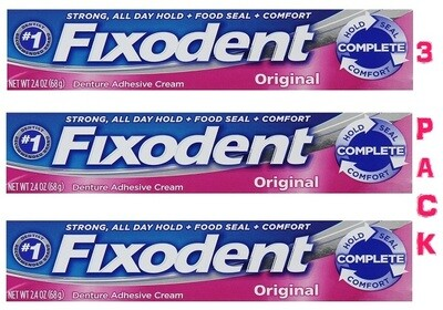 Fixodent Complete Original Denture Adhesive Cream, 2.4 Ounce, 3 Pack