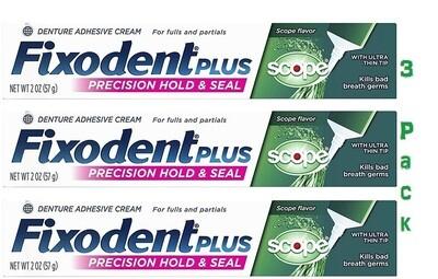 Fixodent Control Denture Adhesive Cream Plus Scope Flavor, 2 Ounce, 3 Pack