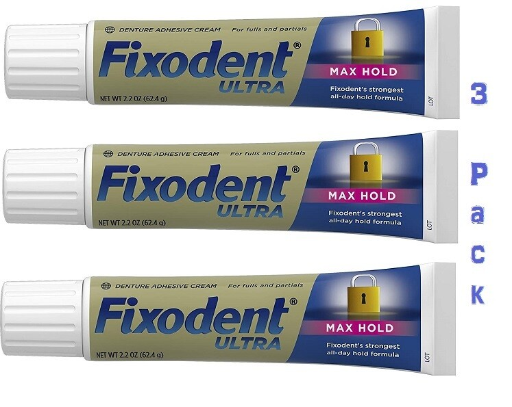 Fixodent Ultra Max Hold Dental Adhesive, 2.2 Ounce, 3 Pack
