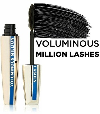LOreal Paris Voluminous Million Lashes Waterproof Mascara, Blackest Black, 0.32 Ounces