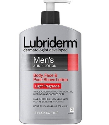 Lubriderm Mens Body Lotion Enriched with Soothing Aloe, Light Fragrance, 16 fl Ounce
