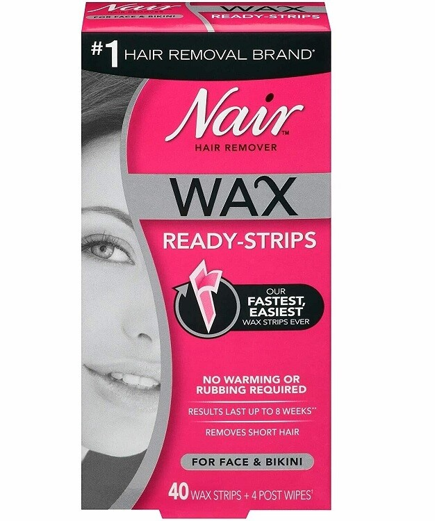 Nair Hair Remover Wax for Face and Bikini, Ready Strips, 40 Count