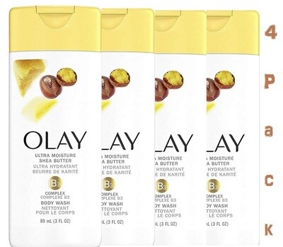 Olay Ultra Moisture With Shea Butter Body Wash, 3 Ounce, Pack of 4