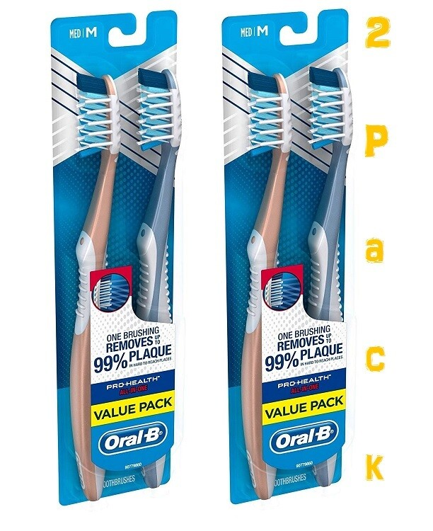Oral-B Pro-Health All-In-One with Crossaction Bristles Toothbrush, Medium, Twin Pack, Pack of 2