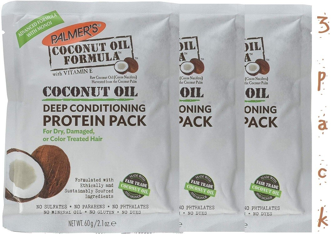 Palmers Protein Coconut Oil, 2.1 Ounce,  Pack of 3