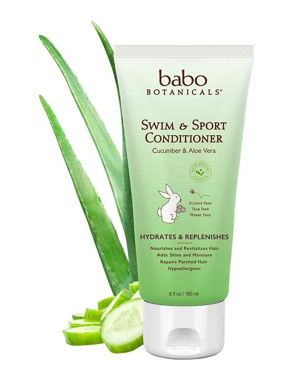 Babo Botanicals Swim N Sport Baby Conditioner with Cucumber and Aloe Vera, 6 fl Ounce