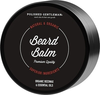 Polished Gentleman Beard Balm, Organic Beeswax, 2 Ounce