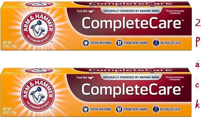 Arm & Hammer Complete Care Fluoride Anticavity Toothpaste, Fresh Mint, 6 Ounce, Pack of 2