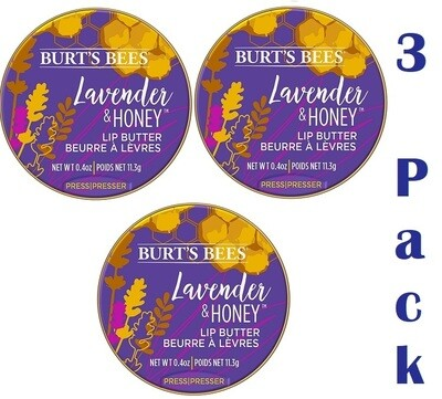 Burt's Bees Lip Butter, Lavender and Honey, 0.4 Ounce, Pack of 3