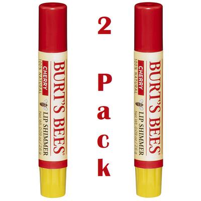 Burt's Bees 100% Natural Moisturizing Lip Shimmer, Cherry, 1 Tube, Pack of 2
