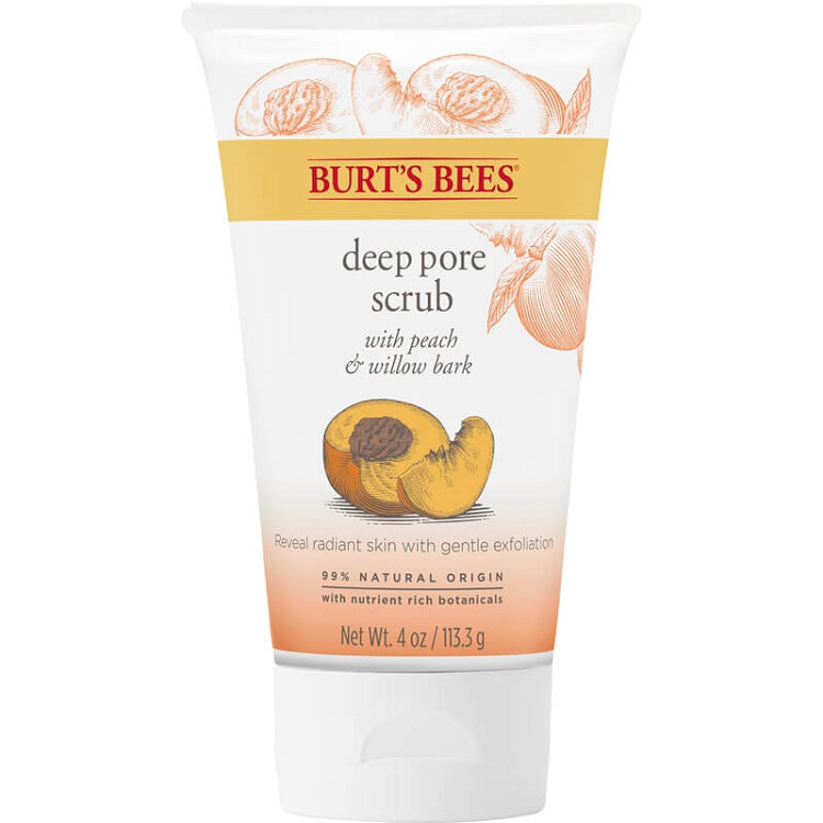 Burt's Bees Peach and Willow Bark Deep Pore Scrub, 4 Ounce