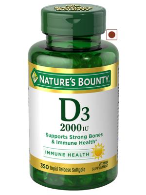 Nature's Bounty Vitamin D3 2000IU Immune Health, 350 Softgels