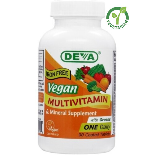 Deva Vegan Multivitamin and Mineral Supplement, Iron Free, 90 Tablets