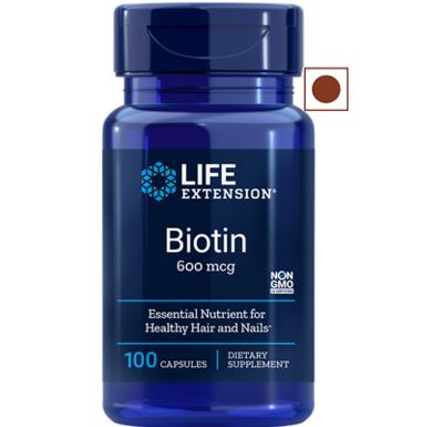 Life Extension Biotin 600 mcg, 100 Capsules