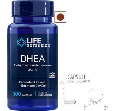 Life Extension DHEA, 25mg, 100 Capsules