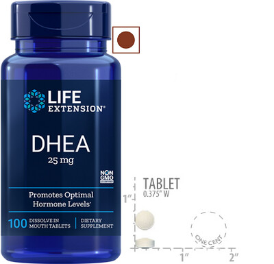 Life Extension DHEA 25 Mg, 100 Tablets