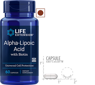 Life Extension Super Alpha Lipoic with Biotin 250 Mg, 60 Capsules