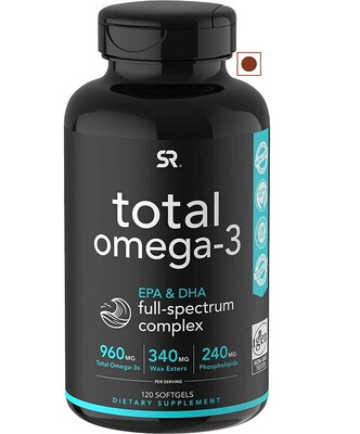 Sports Research Total Omega-3 960 mg, Epa, Dha Full Spectrum Complex, 120 Softgels