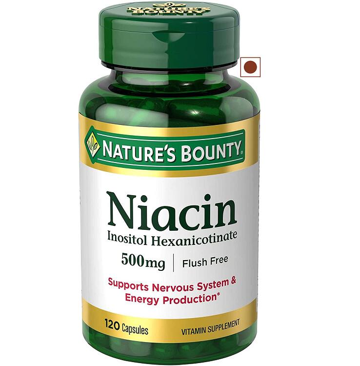 Nature's Bounty Niacin 500 mg Flush Free, 120 Capsules