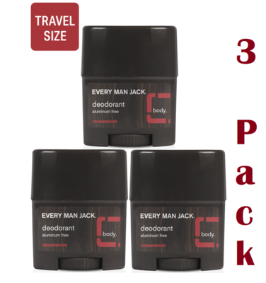 Every Man Jack Deodorant, Travel, 0.5 Ounce, Pack of 3
