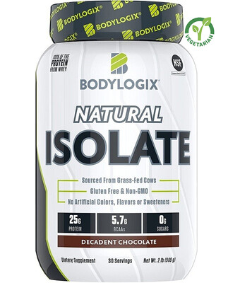 Bodylogix Natural Grass-Fed Whey Isolate Protein Powder, Decadent Chocolate, 2 lb