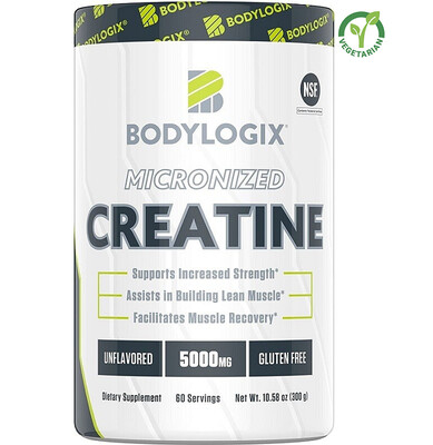 Bodylogix Micronized Creatine Monohydrate Powder, Unflavored, 10.58 Ounce