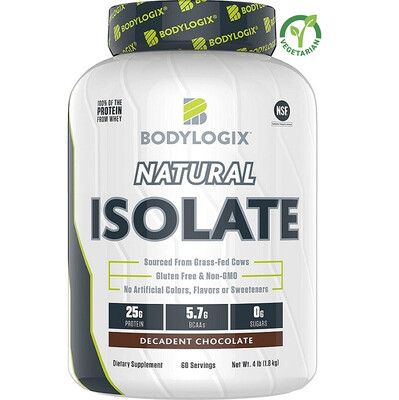 Bodylogix Natural Grass-Fed Whey Isolate Protein Powder, Decadent Chocolate, 4 lb