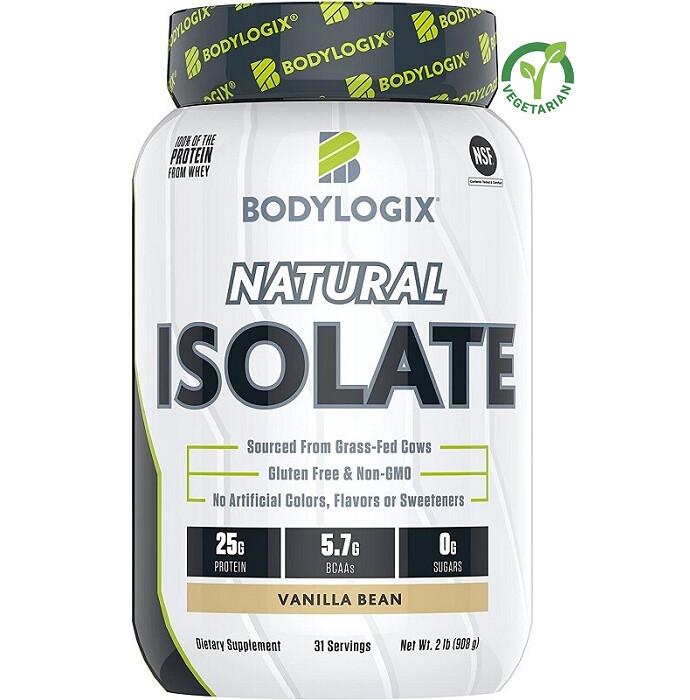 Bodylogix Natural Grass-Fed Whey Isolate Protein Powder, Vanilla Bean, 2 lb