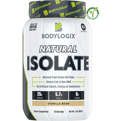 Bodylogix Natural Grass-Fed Whey Isolate Protein Powder, Vanilla Bean, 2 lb
