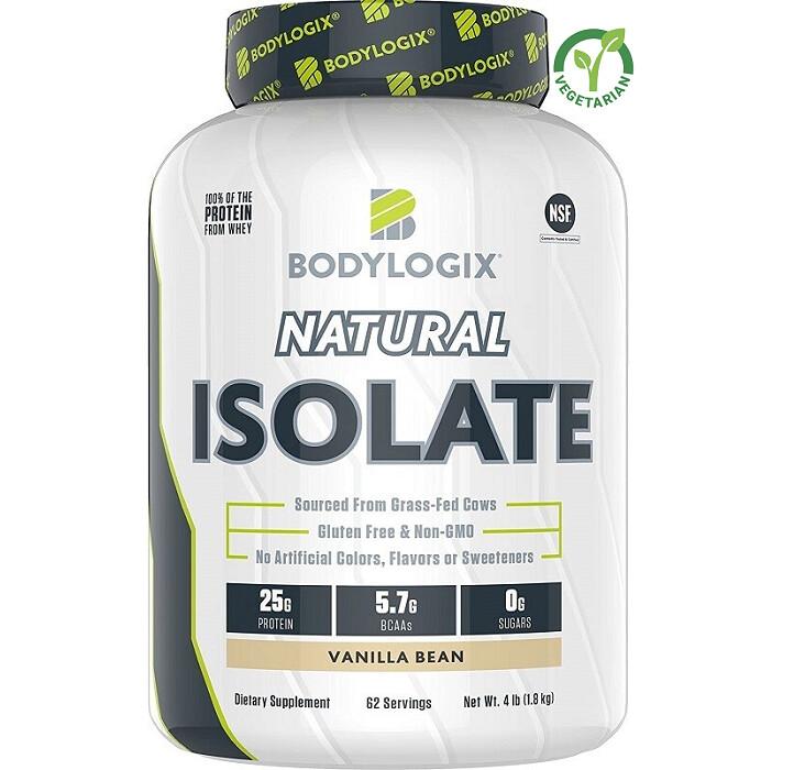 Bodylogix Natural Grass-Fed Whey Isolate Protein Powder, Vanilla Bean, 4 lb